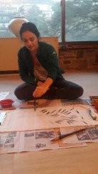 Ji Heon teaching me how to paint bamboo leaves