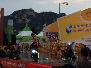 Korean drummers performing in the park