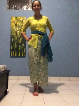 My host family dressed me up in traditional Balinese clothes, called the kabaya