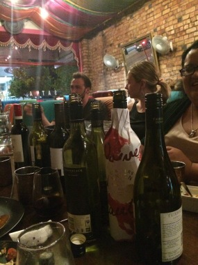 My last night with my Kiwi friends where we all brought our own bottle of wine to an Indian restaurant